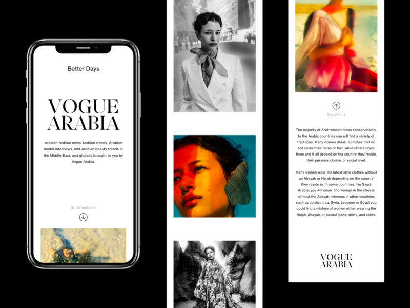 Vogue Arabia - Mobile Website ux ui art direction editorial layout website photography