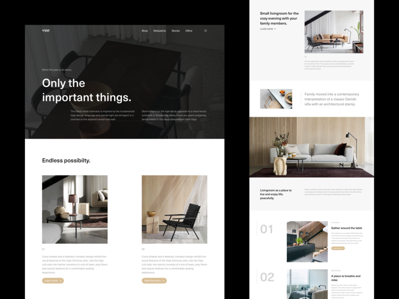 Vipp - About Modularity [002] architecture interior design interior art direction layout exploration exploration layout minimal minimalism website typography figma sketch ux ui