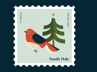 Stamps for Mailing your Wishlist to Santa at the North Pole tree bird postage stamp stamp christmas design illustration