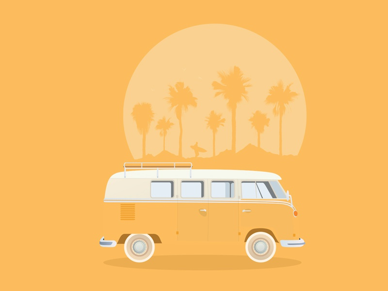 VW Bus van camper illustration vw bus road trip surfing 1960s