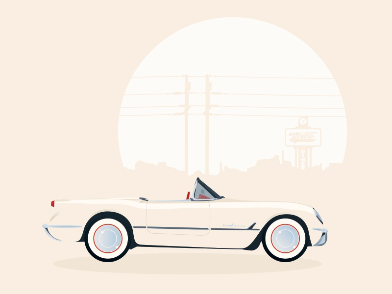 1950s Corvette Roadster illustration car corvette roadster retro 1950s diner