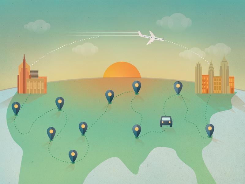 Travel Illustration travel map illustration road trip