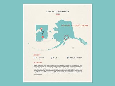 Seward Highway illustration road trip iconic drive alaska