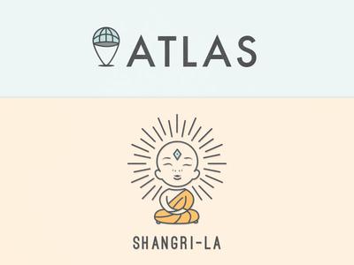 Logos atlas shangri la branding logos illustration