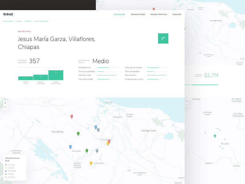 Brigada Community Detail Page product stats platform ux ui mexico map graph design data