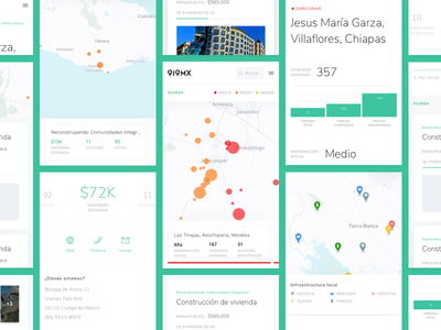 Brigada Mobile social impact ux ui stats product platform mexico map graph design data