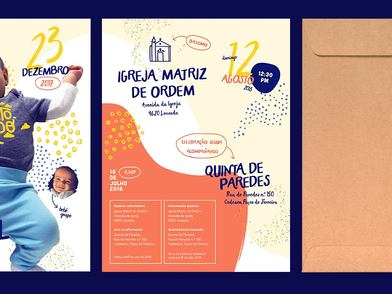 Bautizo Tiago pattern illustration drawing invite portugal baby baptism invitation