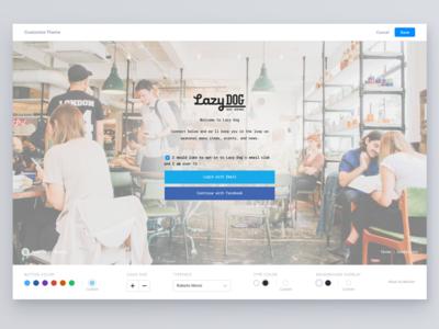 Wisely Theme Editor ui ux restaurant editor platform splash layers builder web