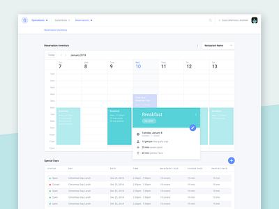 Wisely Reservation Inventory schedule calendar reservation ui ux restaurant editor platform splash layers builder web