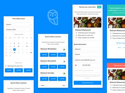 Wisely Mobile Reservations mobile app web builder layers splash platform editor restaurant ux ui reservation calendar schedule