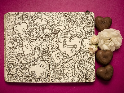 #Moleskinedaily_41 moleskine doodle illustration personal project flower rose chocolat love heart valentines day