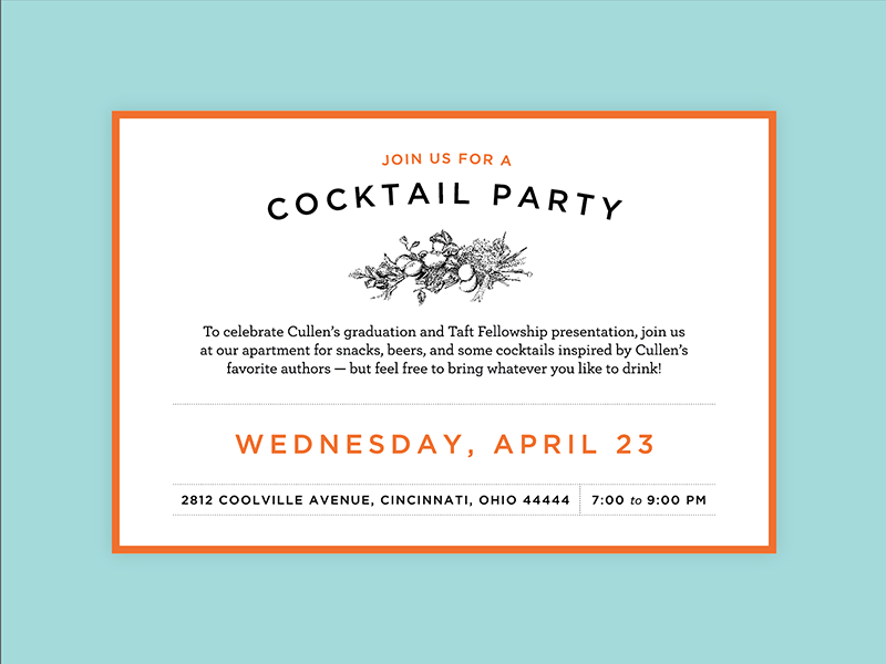 Party Hard invitation cocktail party gotham party graduation