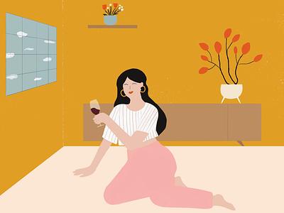 🍷 Wine & Quarantine 🏡 diseño gráfico graphicdesign flower flowers woman mujer ilustração ilustration design ilustración ilustrator