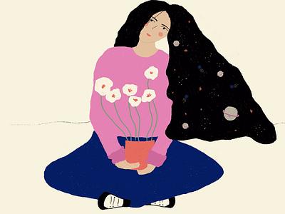 🪐 Transpersonal space 💫 flower flowers illustration stars star estrellas estrella espacio space diseño gráfico diseñografico design diseño ilustración