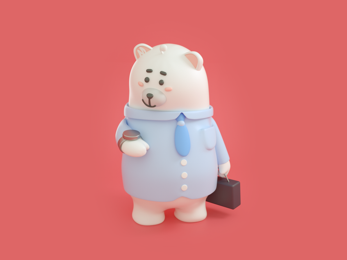 midea bear family 品牌 设计 插图 3d c4d