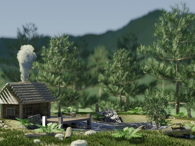 Morning Forest 3d artist day lake jungle mountain trees building forest indonesia designer blendercycles 3drendering 3drender blender3dart blender 3d blender 3d 3d art blender3d