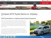 Toyota Sienna Honda Odyssey comparison