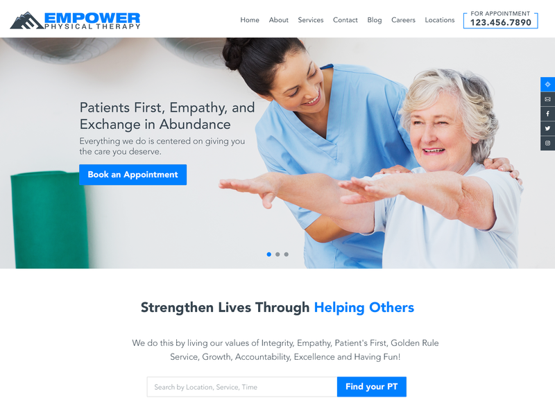 Physical Therapy Website design layout webdesign website wellness healthcare health healing physical therapy physiotherapy physician therapist therapy