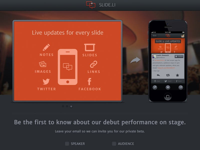 Slide.li new site slide.li site website homepage icons orange dark landingpage landingspage onepage one-page
