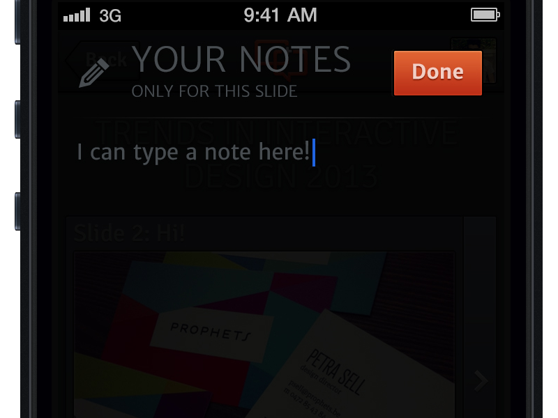 Take A Note slide.li iphone app second screen presentation slides presentations take note notes overlay