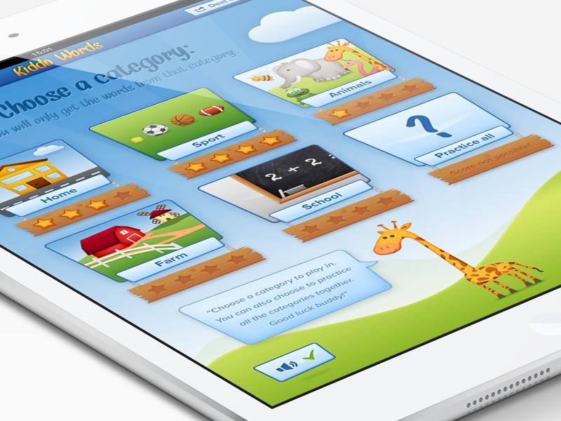 Kiddo Words - Educative game for kids ipad game ios kids children illustration giraffe