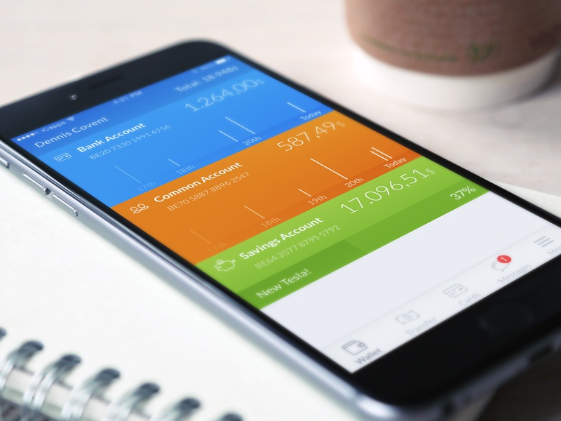 Banking app concept banking mobile payments banks bank concept blue orange green iphone