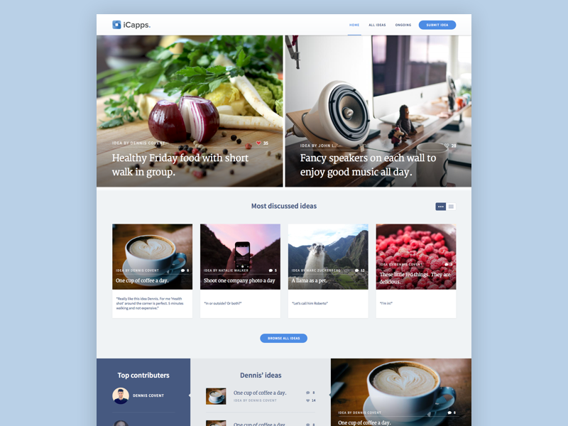Idea platform idea web webdesign layout grid photo
