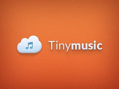 Tiny logo music cloud orange note icon logo shadow depth