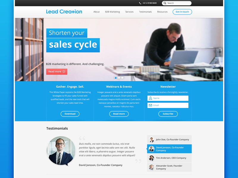 Lead Creation redesign lead creation homepage home design blue big image header
