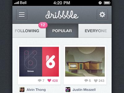 Dribbble iPhone App dribbble iphone app ui dribbble app