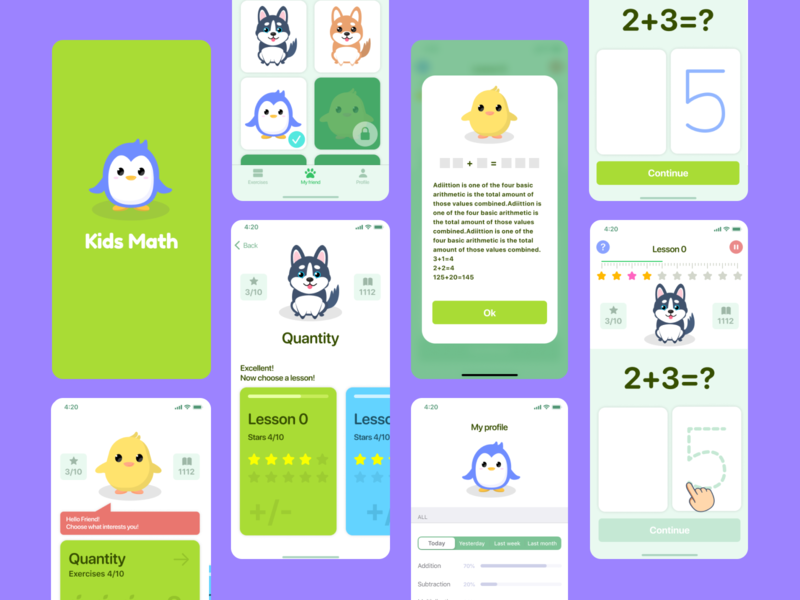 🎒Kids Math App 👧👦 studying learning mathematics pets dog animals ios app children kids math math kids kids app ios mobile ux artwork illustration design ui app