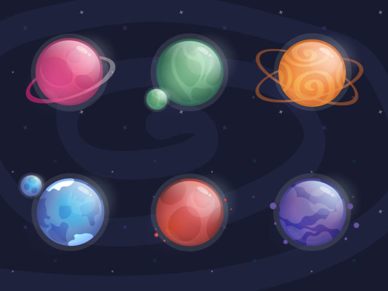 🪐Planets 🪐 planets galaxy space icon set set shutterstock typography vector art artwork illustration