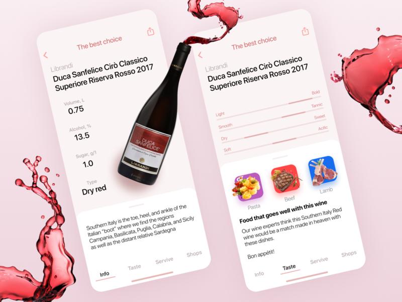 Concept wine app 🍷 mobile design mobile app design mobile ui mobile like likes best choice red wine ecommerce app branding taste wine app wine design ui app