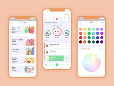 Habits app 🧡 aftereffects figma illustraion white theme dark theme ui calendar ui color picker habits mobile app animated ios vector mobile animation illustration ui design app