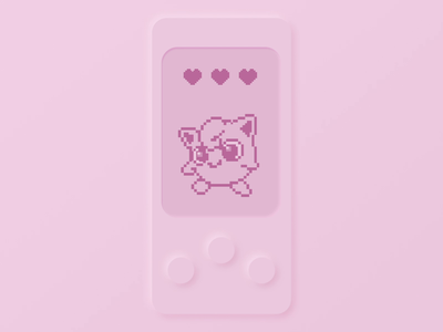 🌸 Jigglypuff, tamagotchi's 🎤 clear design simple pokemon childhood kids 90s illustration pixelart animation mobile ui pink pokeball pokémon jigglypuff tamagotchi neomorphism