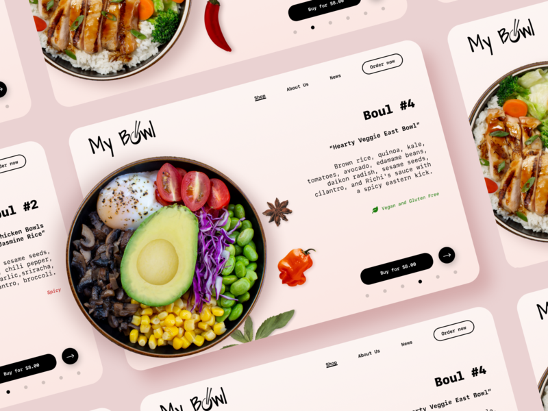 Concept of website - Bowls! web design web site web fast food food shop online shop shop delivery logotype logo food logo asian food fastfood vegan food bowl food webdesign