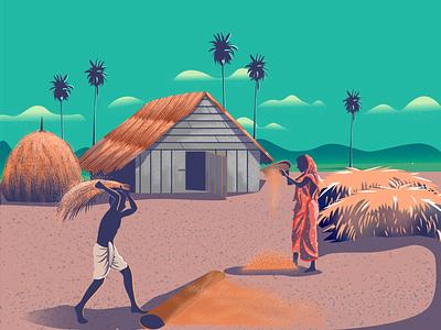 Rinse The Rice rice landscape illustration bangladesh-culture bangladesh landscape design landingpage amazing digital illustration flat design vector illustration