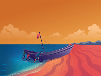 Life With The Sea digital art flat illustration art sea boat fisherman landscape vector illustration digital illustration design vectors vector illustrations illustration