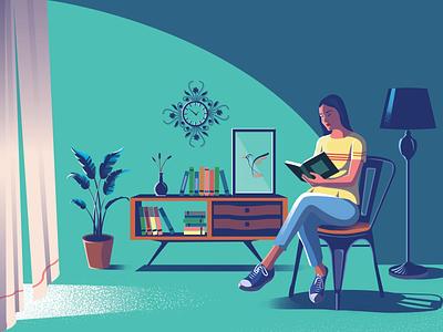 Reading Room reading girl bookshelf books amazing digital illustration digital art design illustration