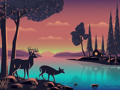 Beautiful Evening web design noir place amazing beautiful evening landscape illustration landscape deer digital illustration digital art flat vector illustration