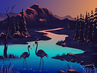 Flamingo illustration design illustration art artwork cover design beautiful hill flamingos flamingo flat web landscape illustration landscape design digital illustration vector digital art design illustration