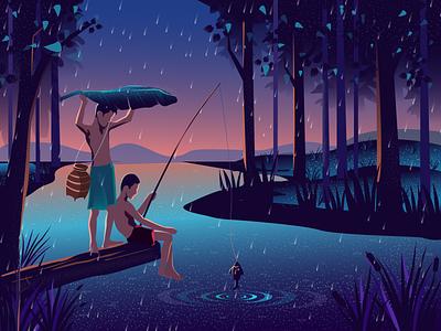 Childhood fish fisherman forest character design character water chaildhood amazing digital illustration flat design vector illustration