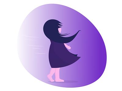 Flat design- Illustration graphic design vector windy girl character shot flat illustration flat  design minimal flat illustration