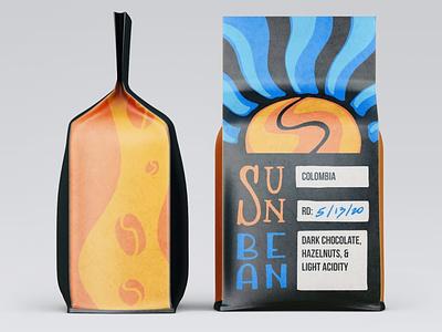 Sunbean Coffee Co. branding coffee mockup illustration procreate packaging