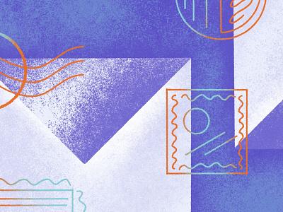 Mail & Packaging Illustration stamp envelope mail textures ecommerce blog shogun branding procreate illustration