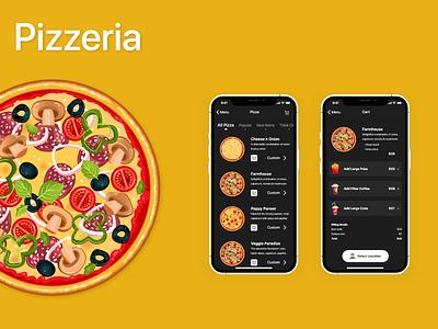Pizzeria - Pizza Menu and Cart ux designer designer ux food select location buy now food cart ui design ui ux designer branding pizza menu pizza food app