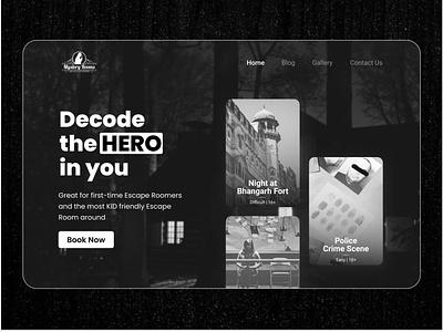 Mystery Rooms Hero - Redesign concept figma designer mystery machine free uxwriting mockup heroes booking concept design mystery rooms ui uidesign hero banner hero section hero image hero