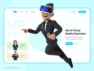 Hero Concept - VR Illustration Set hero banner cards login 3d illustrations ui design ux ui website art icons 3d web hero ar vr figma logo illustration design ui ux designer