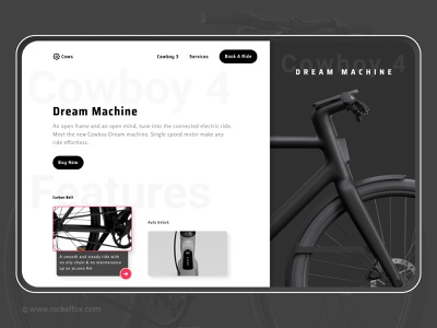 Concept Hero Cowboy electric cycle - Dream Machine track header website ebike bicycle rider ux cyclist webdesign ride cowboy layout concept hero figma automobile bike electric bike cycle ui