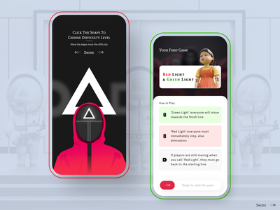 Concept Squid Games || Illustration and App Design clean ui visual design product fonts design concept ux games shapes circle square triangle mobile application concept figma free freebie illustration ui squid games